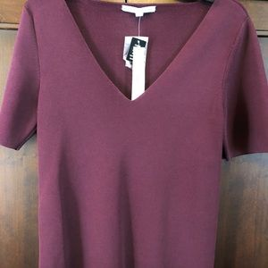 Antonio Melani Maroon Short Sleeve Top Sz L NWT